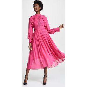 Self Portrait Fuchsia Chiffon MIDI Dress 6 US NWT